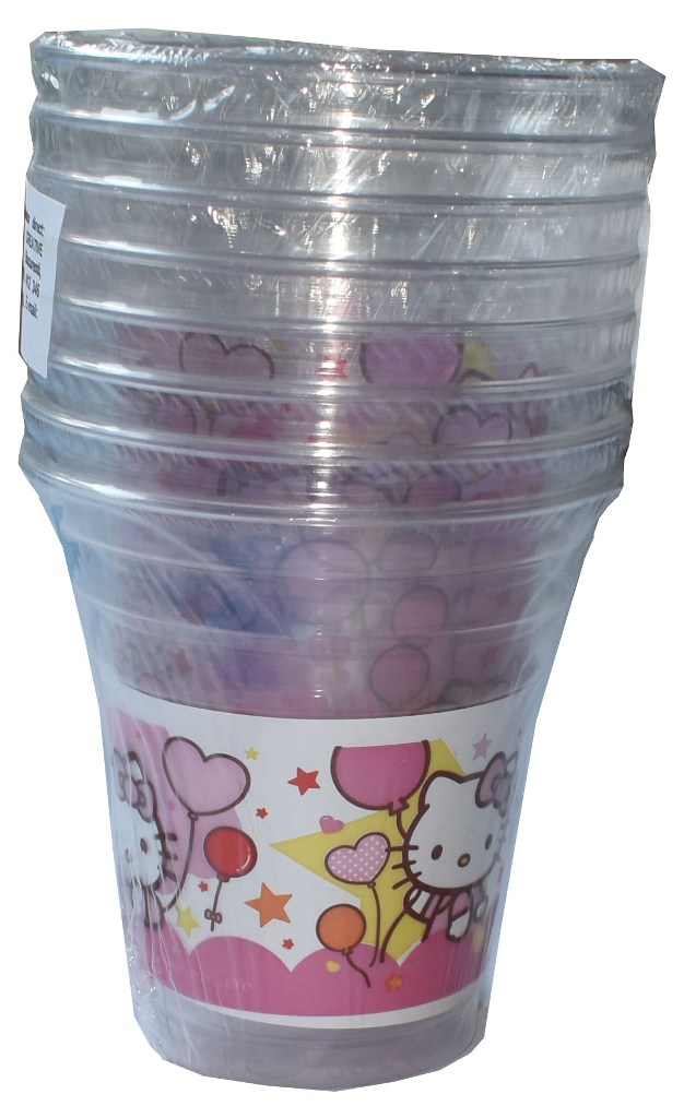 Set 8 pahare plastic de 200ml Hello Kitty