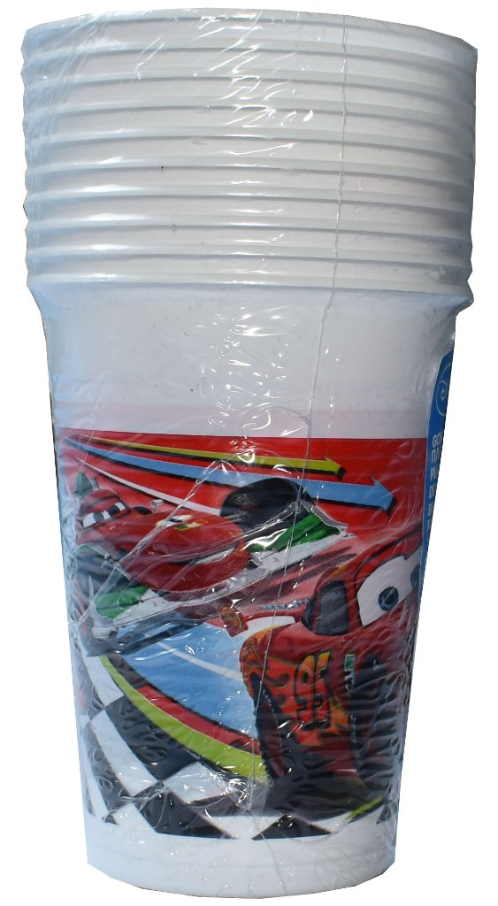 Set 10 pahare plastic de 200ml CARS