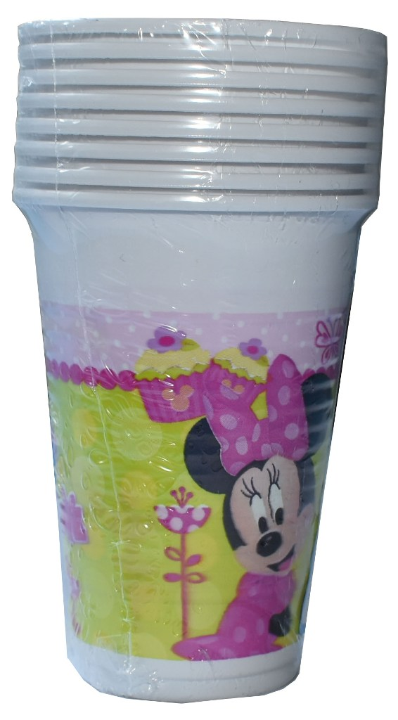 Set 10 pahare plastic de 200ml MINNIE MOUSE roz