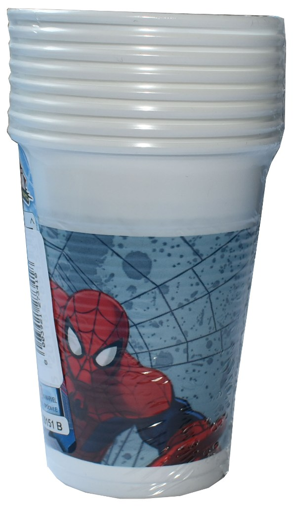 Set 8 pahare plastic de 200ml Disney Spiderman