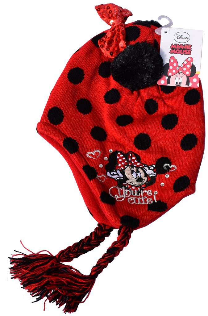 Caciula Minnie Mouse rosie cu buline negre si fundita cu polar in interior, model norvegian