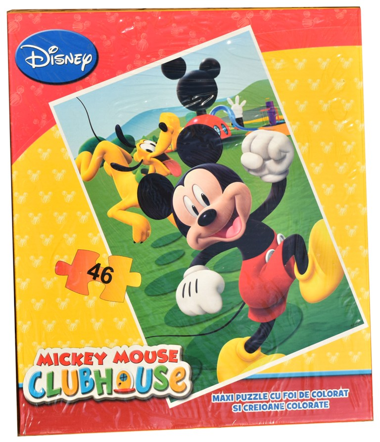 Puzzle Disney Mickey Mouse mare 46 piese cu hartie si creioane colorate