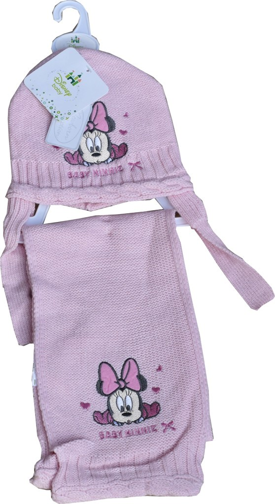 Set bebe Minnie Mouse roz fular si caciula