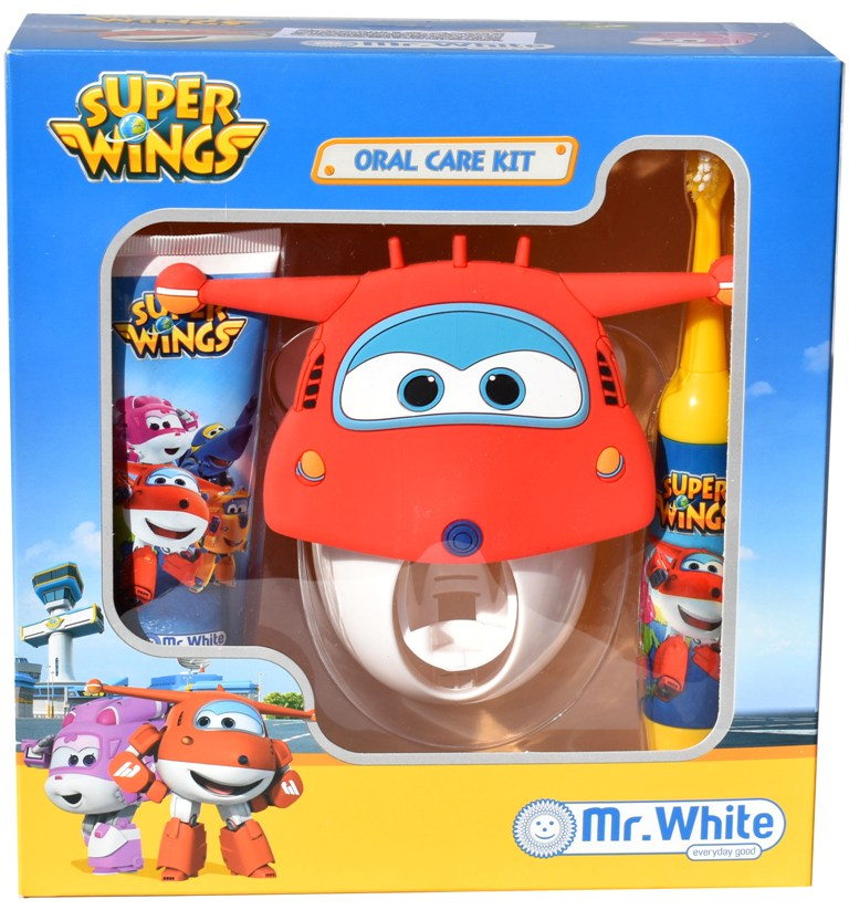 Set ingrijire orala Disney Super Wings cu suport (periuta turbo, pasta de dinti 75ml-gust capsun,suport 3D cu dozator de pasta),Rolly Brush, 36 luni+