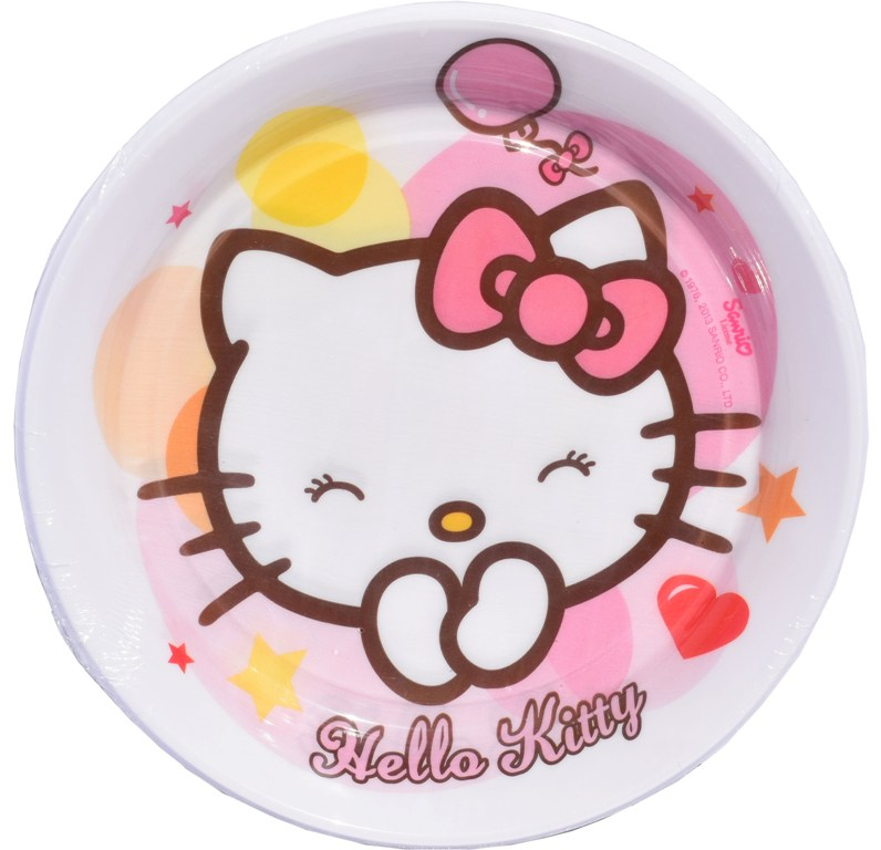 Set 8 farfurii de 18 cm unica folosinta Hello Kitty