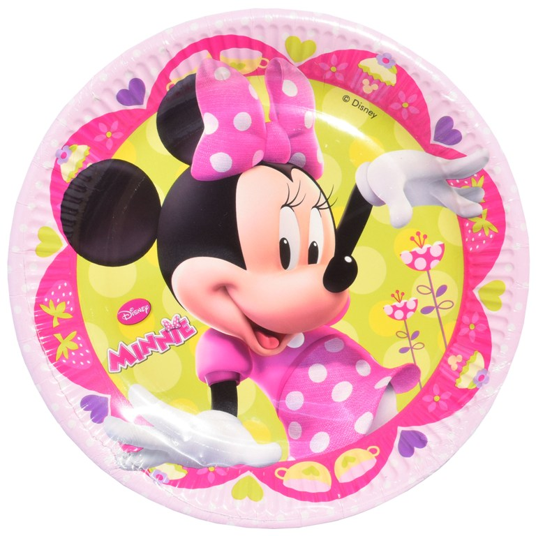Set 8 farfurii de 20 cm din carton plastifiat  Disney MINNIE MOUSE roz