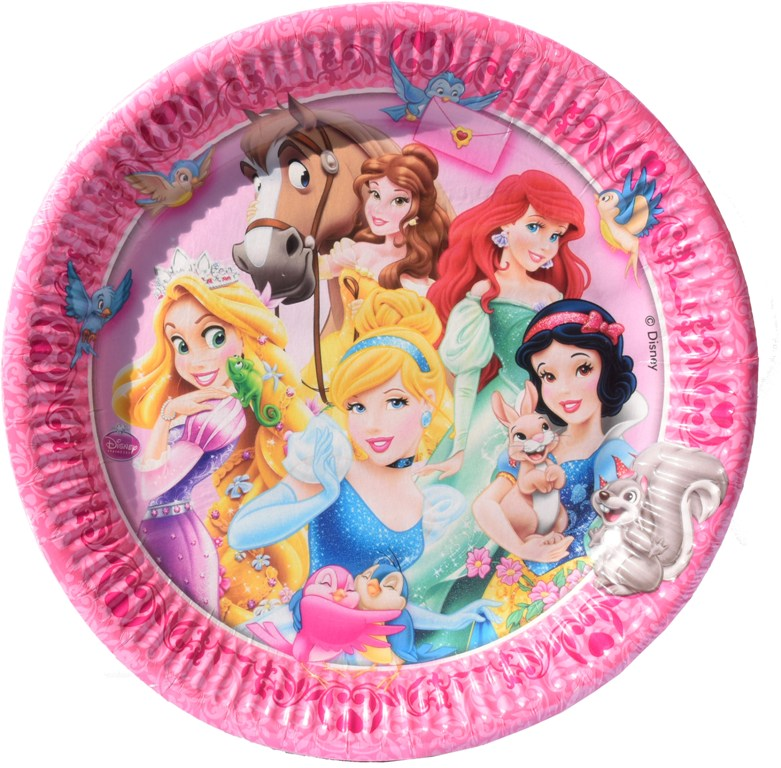 Set 8 farfurii de 23 cm din carton plastifiat Disney Princess (Printese)