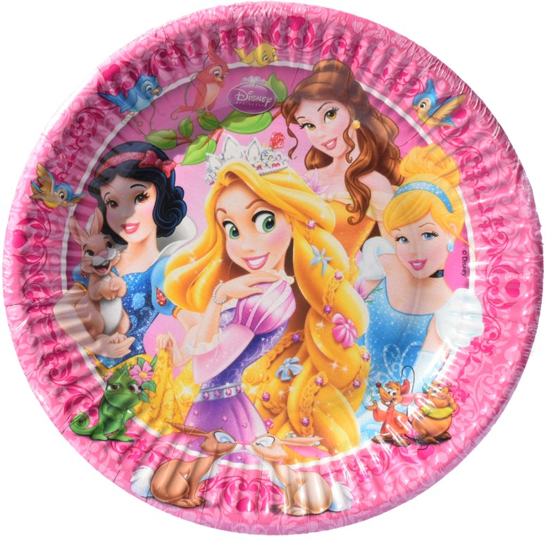 Set 8 farfurii de 18 cm din carton plastifiat Disney Princess (Printese)