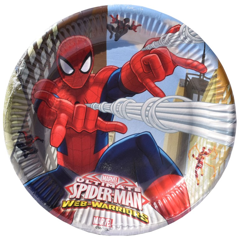 Set 8 farfurii de 20 cm din carton plastifiat  Disney Spiderman