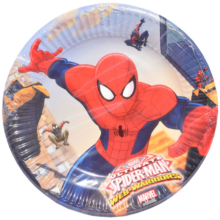Set 8 farfurii de 18 cm din carton plastifiat  Disney Spiderman