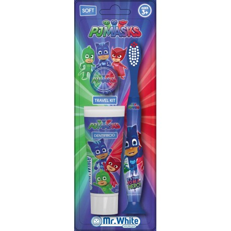 Set de calatorie Pj Mask Eroi in pijamale, Rolly Brush(periuta de dinti, pasta de dinti mixt de fructe 20ml,capac de protectie), 36 luni+