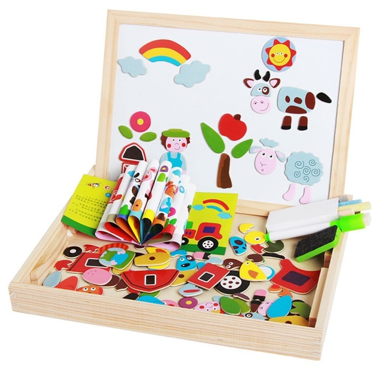 Set educational ferma vesela lemn cu puzzle magnetic si tablita