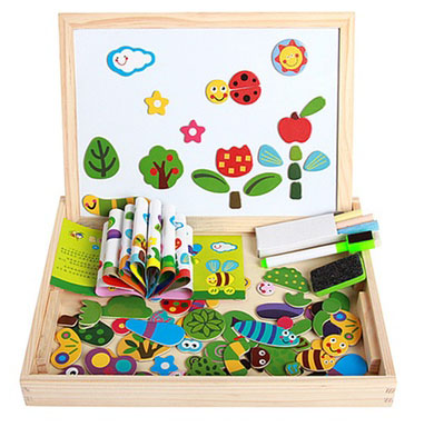 Set educational insecte lemn cu puzzle magnetic si tablita