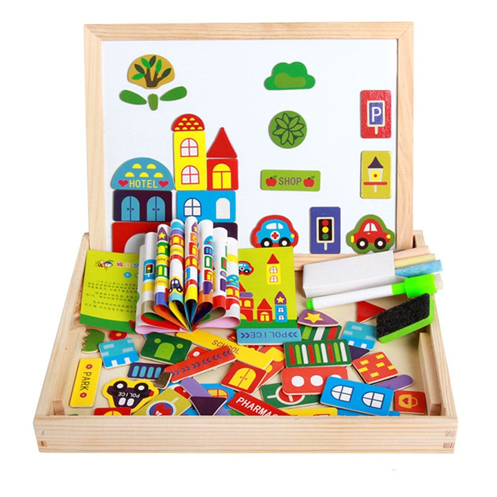 Set educational trafic urban lemn cu puzzle magnetic si tablita