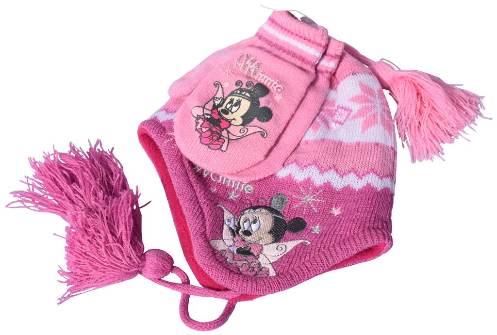 Set bebe Minnie mouse roz manusi si caciulita cu polar in interior