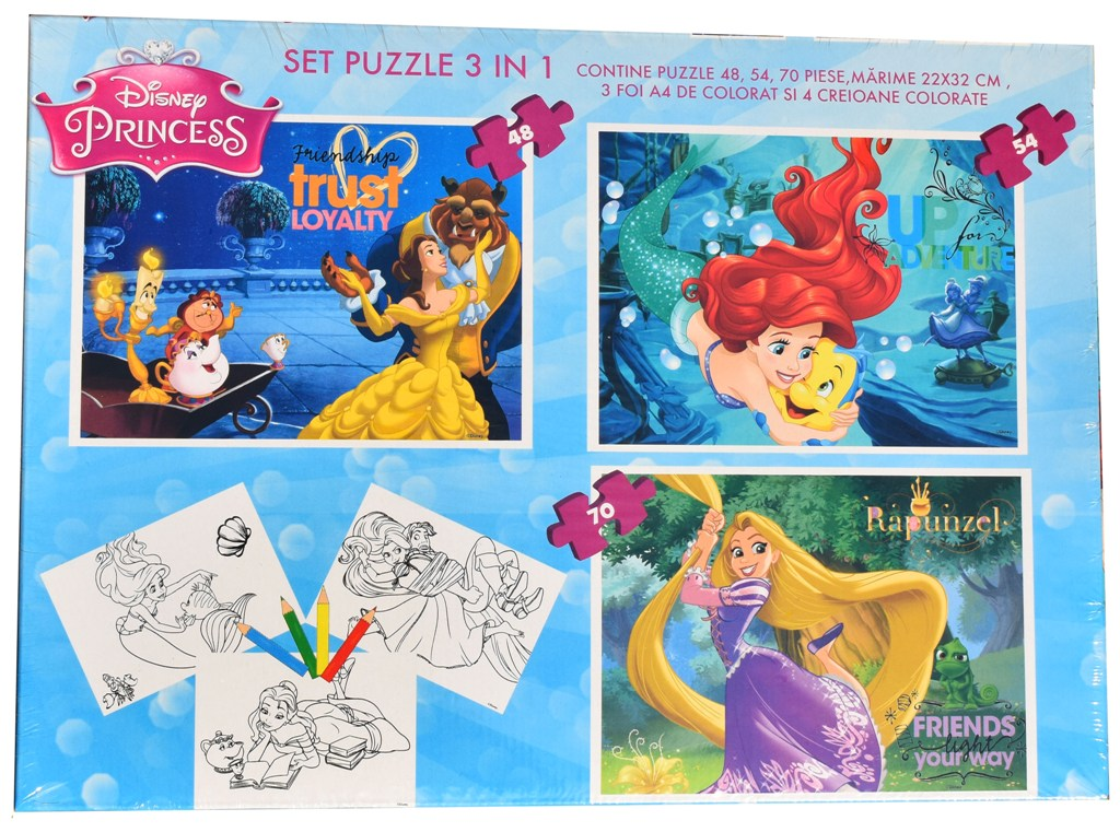Set puzzle 3 in 1 Disney Princess (printese) 22x32cm