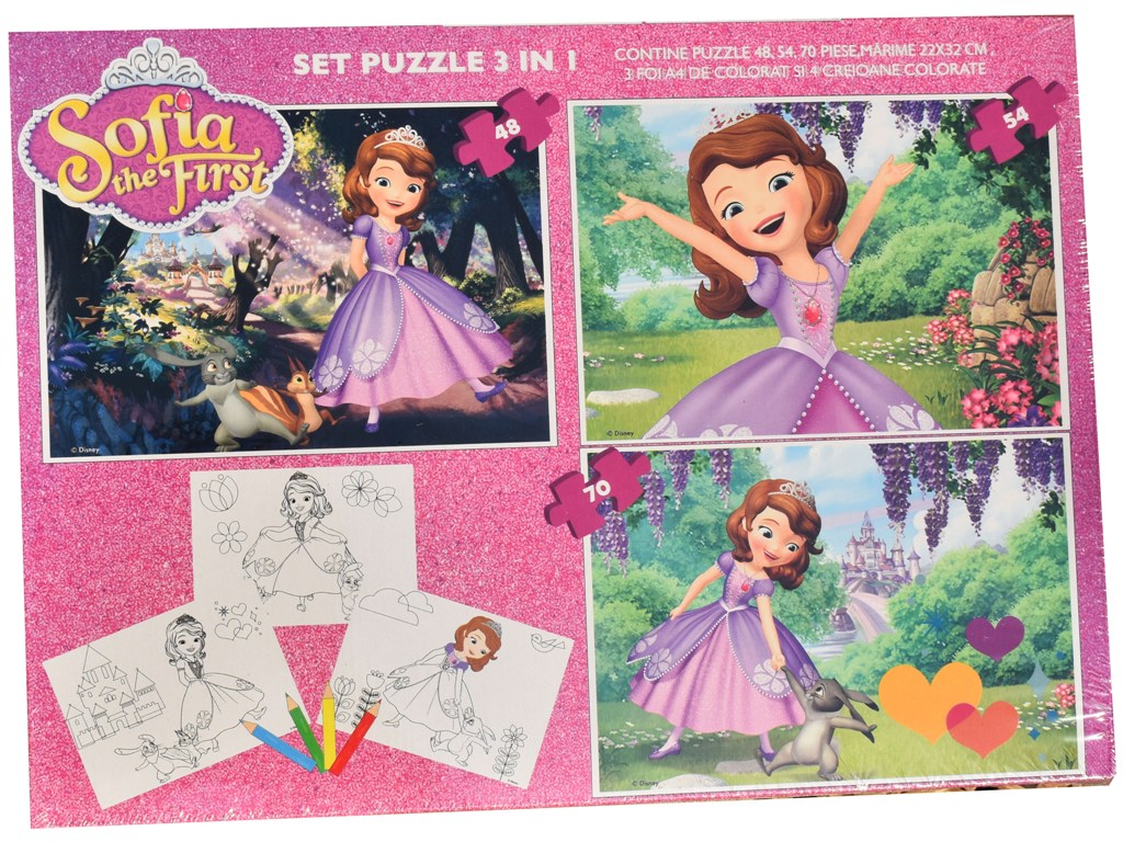 Set puzzle 3 in 1 Disney Sofia 22x32cm