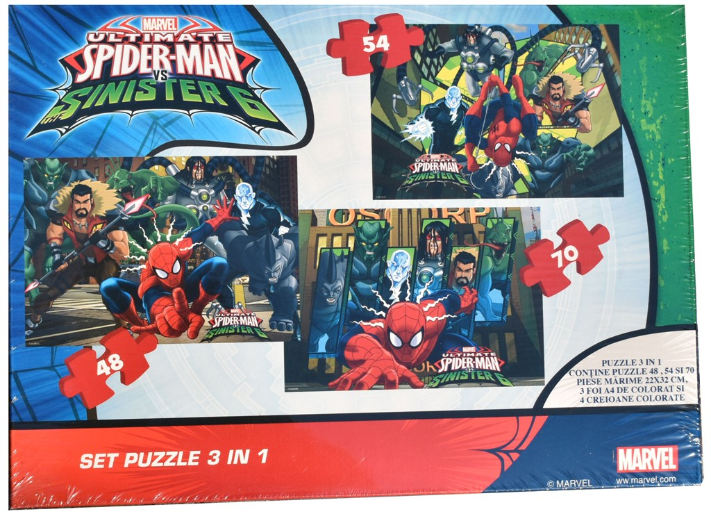 Set puzzle 3 in 1 Disney Spiderman 22x32cm