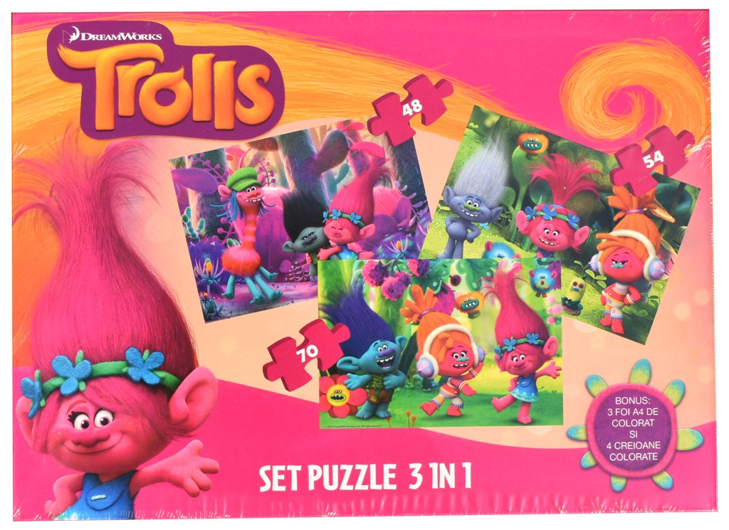 Set puzzle 3 in 1 Disney Troli 22x32cm