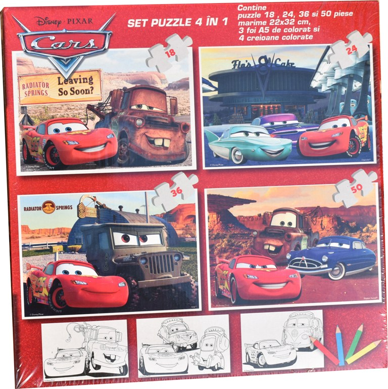 Set puzzle 4 in 1 Disney Cars 22x32cm